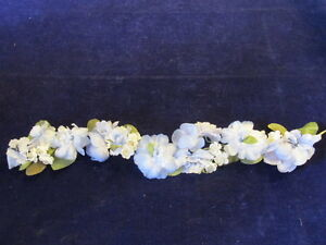 Vintage-Millinery-Flower-Blue-Ivory-20-034-Garland-for-Hat-Headband-Hair-IH6