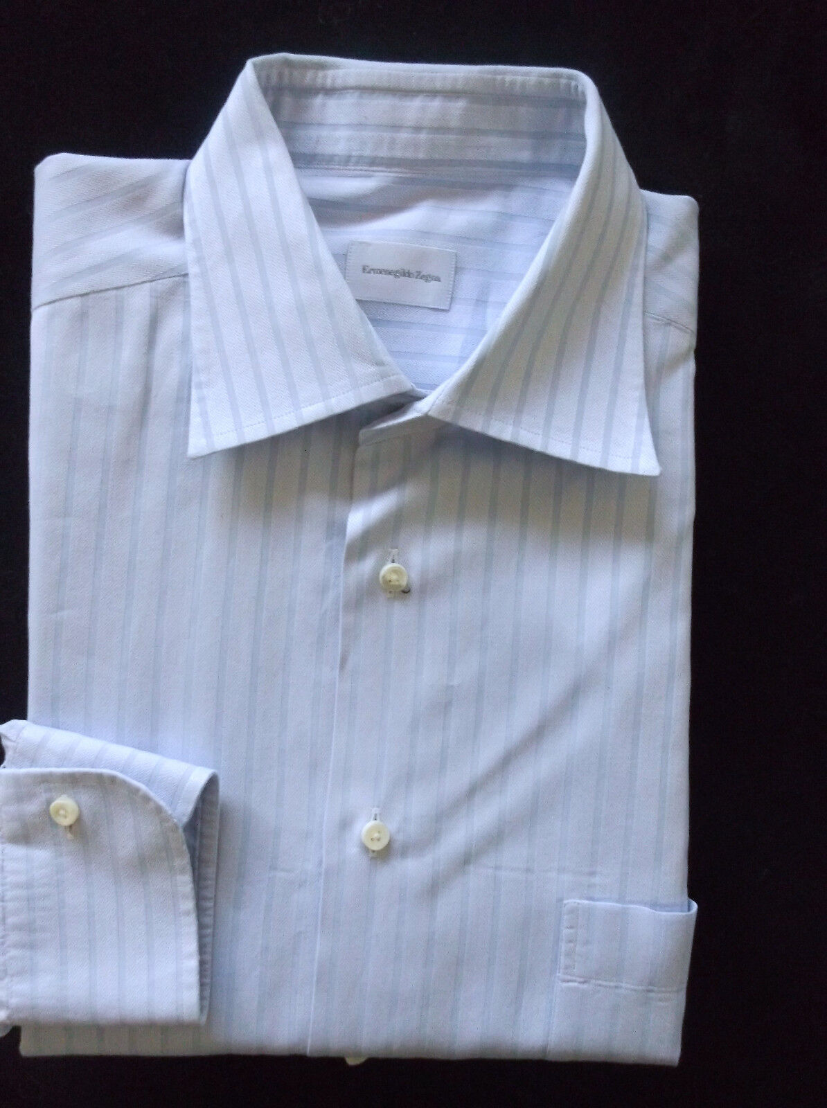 Ermenegildo Zegna Blau with light Blau Striped Spread Collar Shirt Sz 16 1/2 43