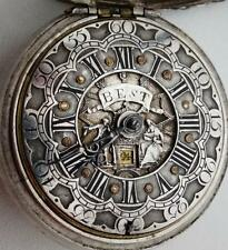MUSEUM 18thC Verge Fusee Calendar silver Watch Champleve Dial.Louis XIV portrait