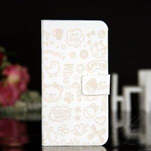 Samsung Galaxy S4 Flip Tasche Case Hülle Design Klapp Etui Comic Cover Weiß