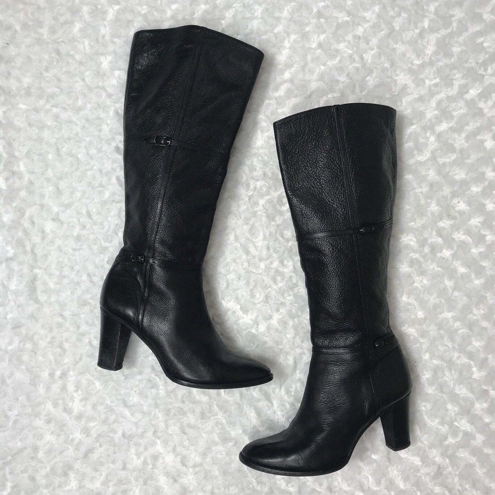 J Crew 9 Rare Black Leather Knee High Tall Long Beckett High-Heel Boots 385