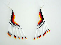 Native American Seed Bugle Bead Earrings Hand Made White & Navajo Colors