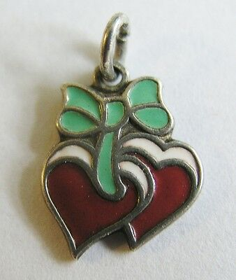 Antique Deco German 800 Silver & Enamel Double Heart w/ Bow Charm ~ Too Sweet!