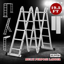 195ft Telescoping Extension Ladder Aluminum Folding Step Ladder All Purpose New
