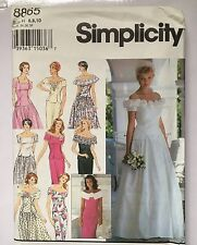 Simplicity 8865 Bridal Wedding Dress Misses Sizes 6-10 Uncut Sewing Pattern 1994