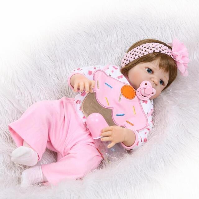 Reborn Baby Doll 23/'/' Realistic Full Vinyl Silicone Lifelike Girl Waterproof