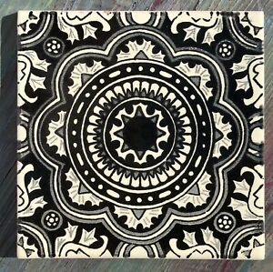 Details About 7 Talavera Mexican Pottery Tile 6 Clic Black Creamy Off White Swirl Grey