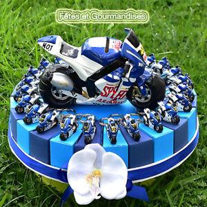 Détails Sur Moto Sportive Bleue Gateau Pour Communion Anniversaire Dragees Bonbons