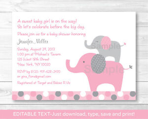 Pink Polka Dot Elephant Jungle Printable Baby Shower Invitation