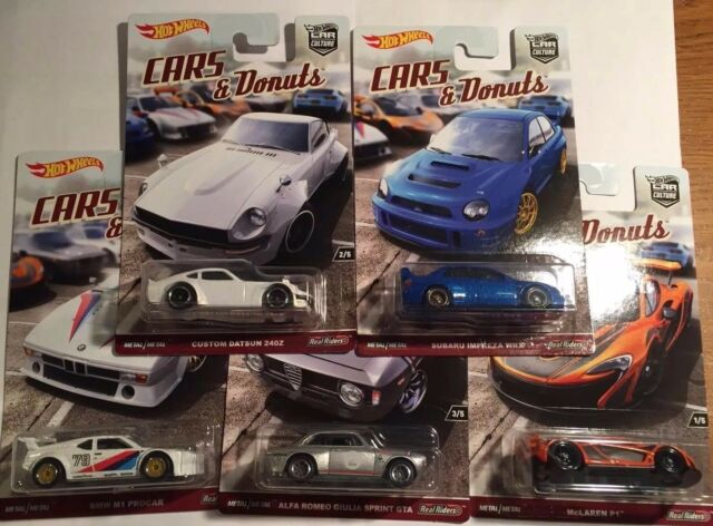 Hot Wheels 2017 CAR CULTURE CARS & DONUTS DATSUN 240Z McLAREN BMW WRX Set of 5