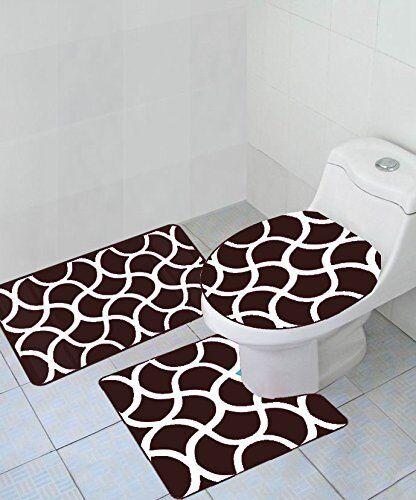 3 Piece Geometric Wave High Pile Bathroom Set Contour Rug Toilet Lid Cover Brown