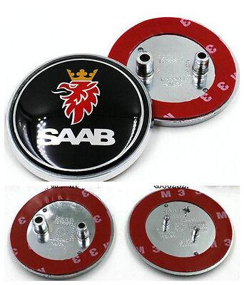 2x Saab Badge 9-3,9-5 Set Boot Back /& Bonnet Front Logo Emblem 68mm Black