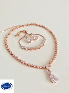 Gold SET Zirkonia DIADEM Brautschmuck Kette Collier Armband Schmuckset