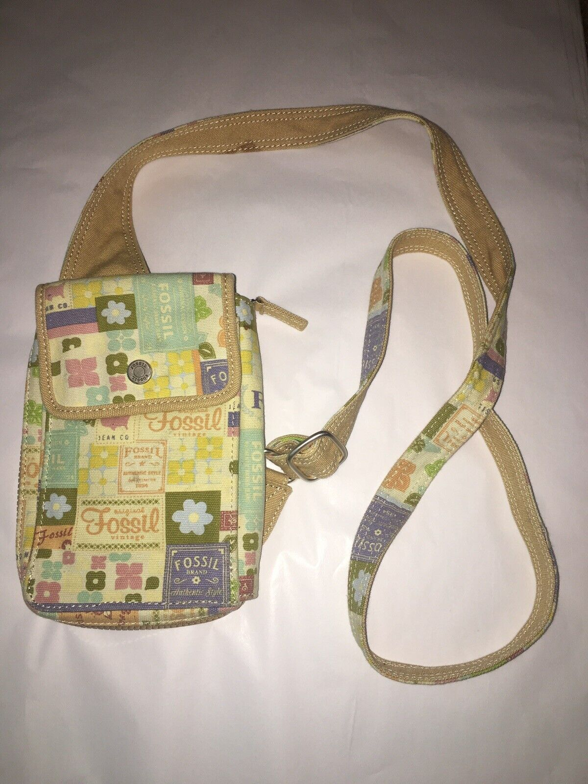 Fossil Small Tan Canvas Crossbody Bag - image 1