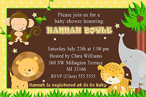30 jungle invitation cards baby boy shower or birthday party invites image is loading 30 jungle invitation cards baby boy shower or filmwisefo