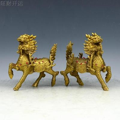 Chinese antique handmade brass statue fengshui lucky eagle ingot