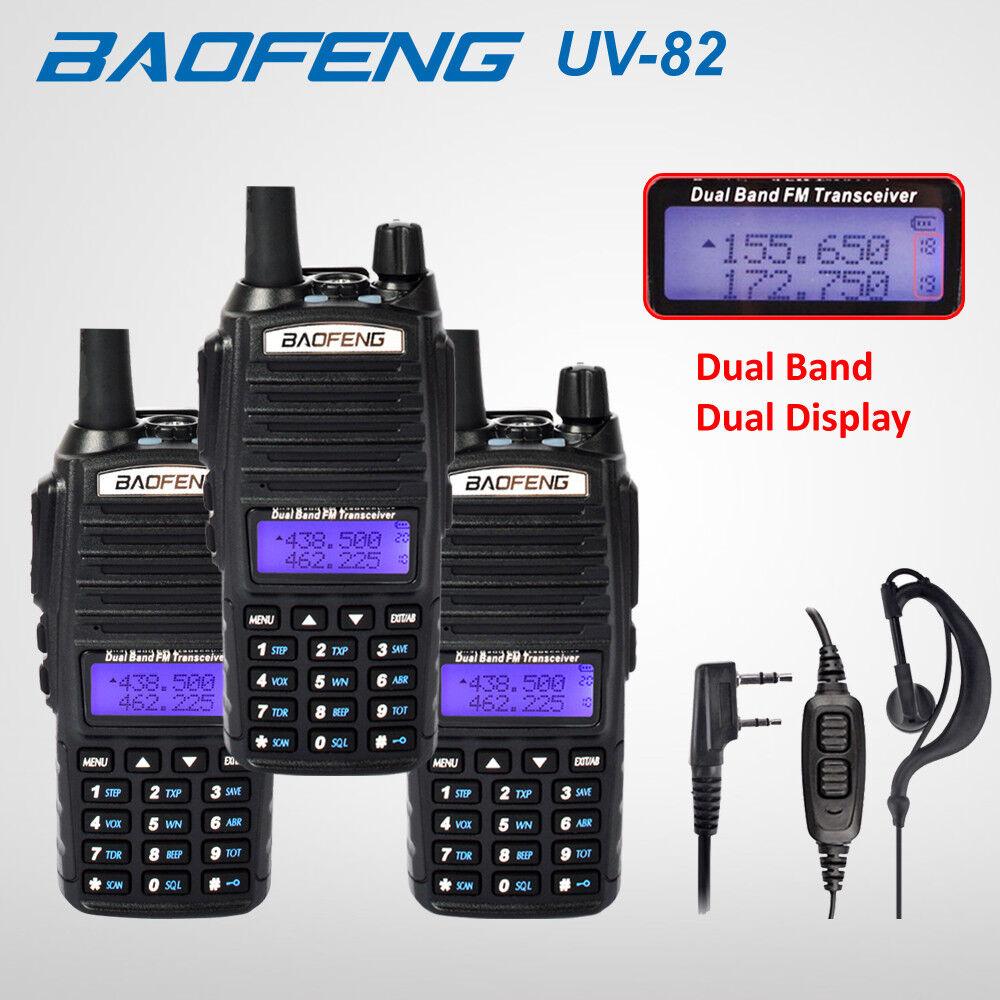 BAOFENG UV-82 Black UHF//VHF Ham Dual Band 137-174//400-520MHz Radio Speaker Mic