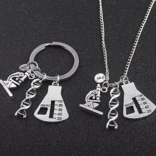 Customized Initials Name Key Chains Conical Flask DNA Pendant Keyring Accessory