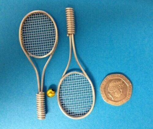 2 Plata Metal Raqueta De Tenis Deportes álbum de recortes elaboración de Tarjetas artesanal Adornos