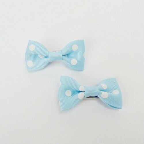 "Girls Set of 2 Small Cross Grain Ribbon Hair Bow Clips 1.75"" Baby Blue with Dot"