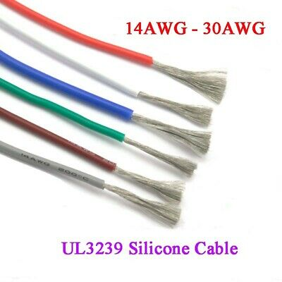 White Silicone Cable Flexible Soft Wire Tin Plated Copper UL3239 16//18//20~30AWG