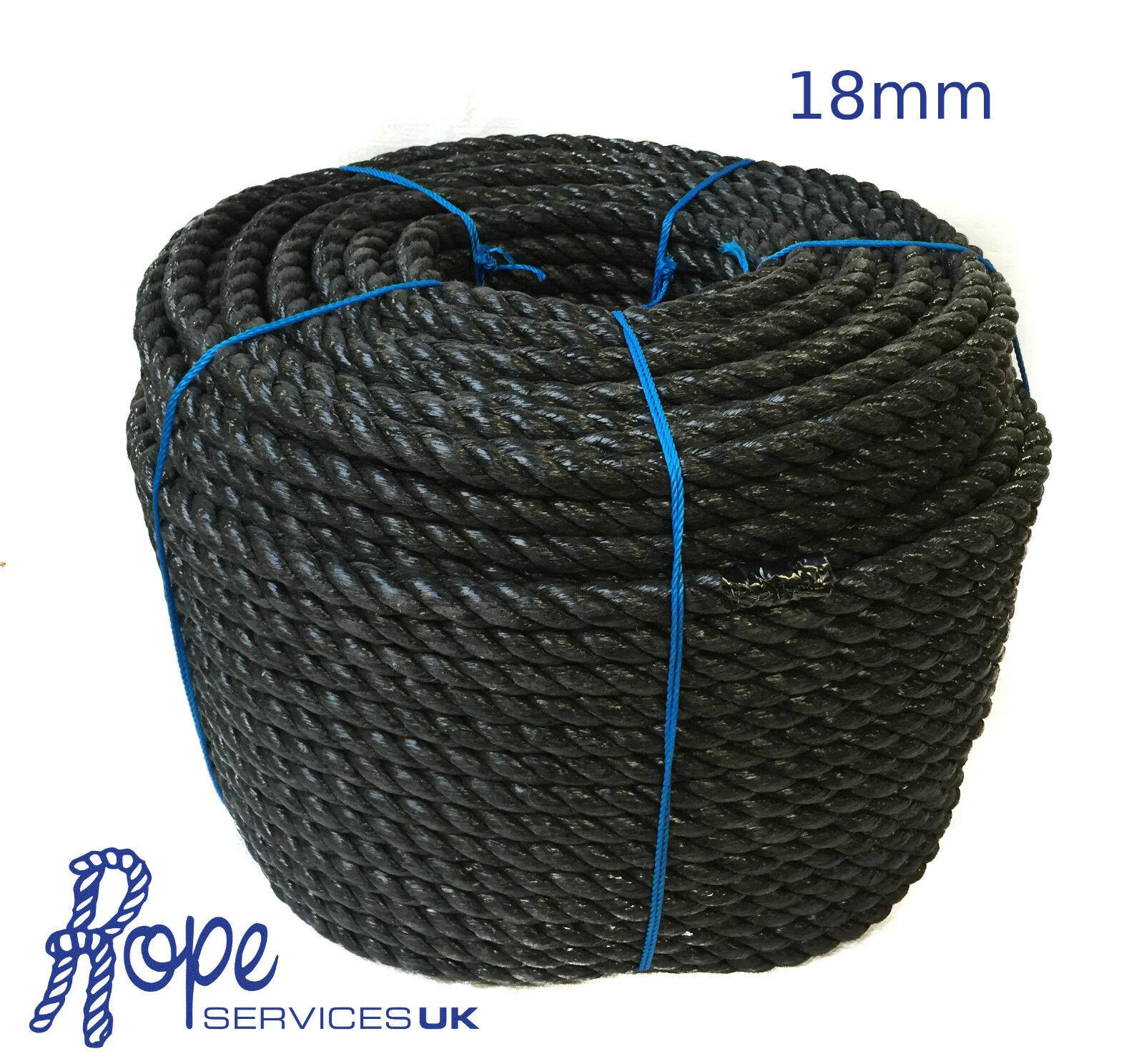 Schwarz Poly-Seil Rollen,Poly Seil, Polypropylen, Camping, Planen, 18mm x 45 M
