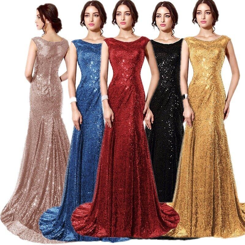 Lang Ballkleid Brautjungfernkleid Abendkleid Partykleid Pailletten-Kleid Gold 32 | Online-verkauf  | Schön geformt  | Stabile Qualität  | Mittlere Kosten  | Vorzugspreis