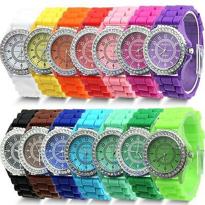 Fashion LADIES WOMEN Soft Silicone Strap Rhinestone Quartz Analog Wrist Watch