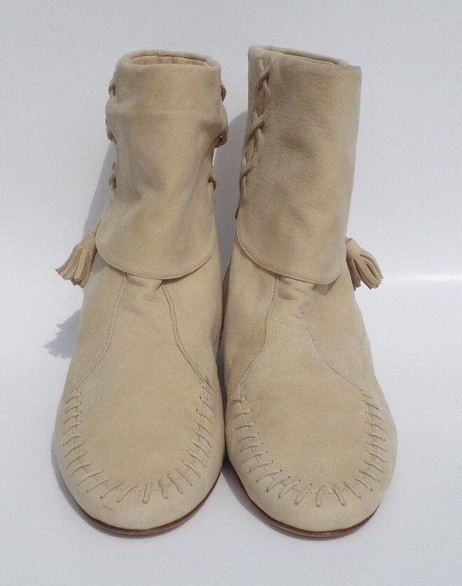 MANOLO BLAHNIK Creme Bone Beige Suede Moccasin Stitch Tassel Flat Ankle Boots 38
