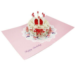 Image Is Loading Happy Birthday Laser Cut Cake Pop Up Greeting