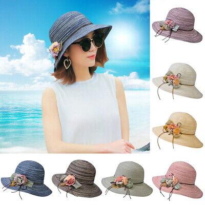 Xuxuou Strandhut mit Blumen Strohhut Sommer Damenhut UV-Schutz Sonnenhut 1 St/ück (56cm*58cm)