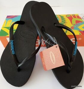 0ffb716fa1b HAVAIANAS Genuine NEW Ladies Slim THONGS FLIP FLOPS SANDALS BLACK ...
