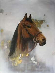 Realism-Brown-Horse-Portrait-Signed-Original-Oil-Painting-On-Canvas-60-034-x-48-034