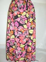 Long Maxi Black Bright Pink Orange Floral Print Cotton Summer Skirt Plus 34+ Hol