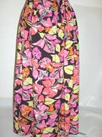 Long Maxi Black Bright Pink Orange Floral Print Cotton Summer Skirt Plus 34+ Hol