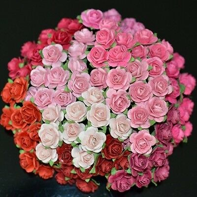 50 MIXED MULBERRY PAPER ARTIFICIAL ROSE HEAD FLOWERS RED AND PINK TONE 0.6 INCH