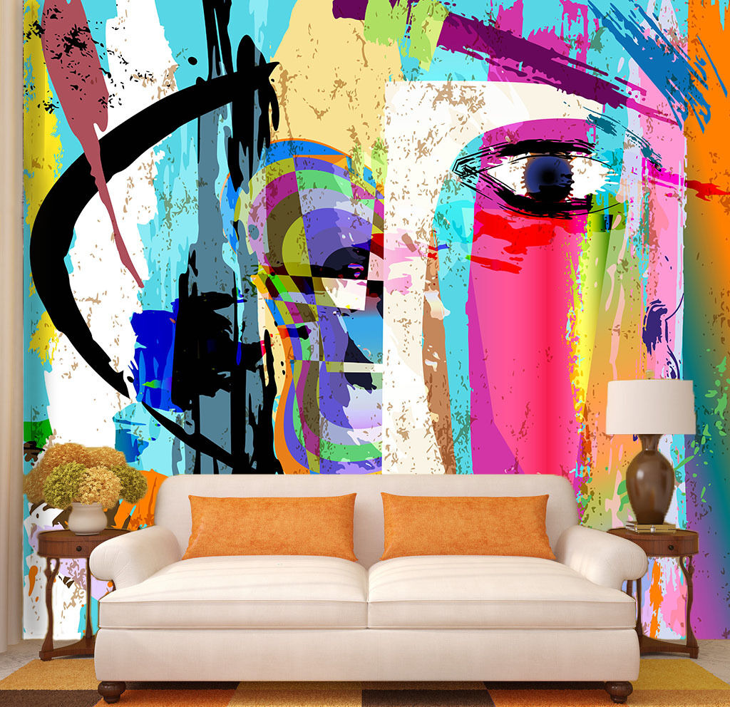 3D Female Face Painted Paper Wall Print Wall Decal Wall Deco Indoor Murals