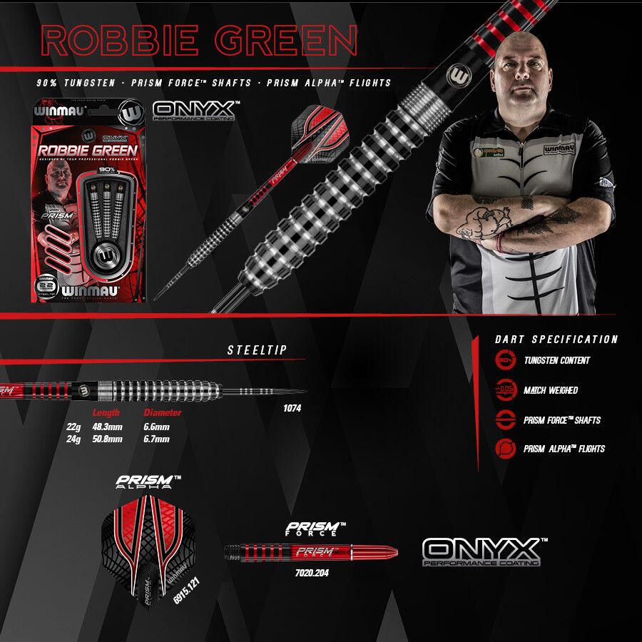 WINMAU Steel Darts Dartpfeile Pfeile Player Player Pfeile Robbie Grün Kong Onyx 24 gr. NEU b53172