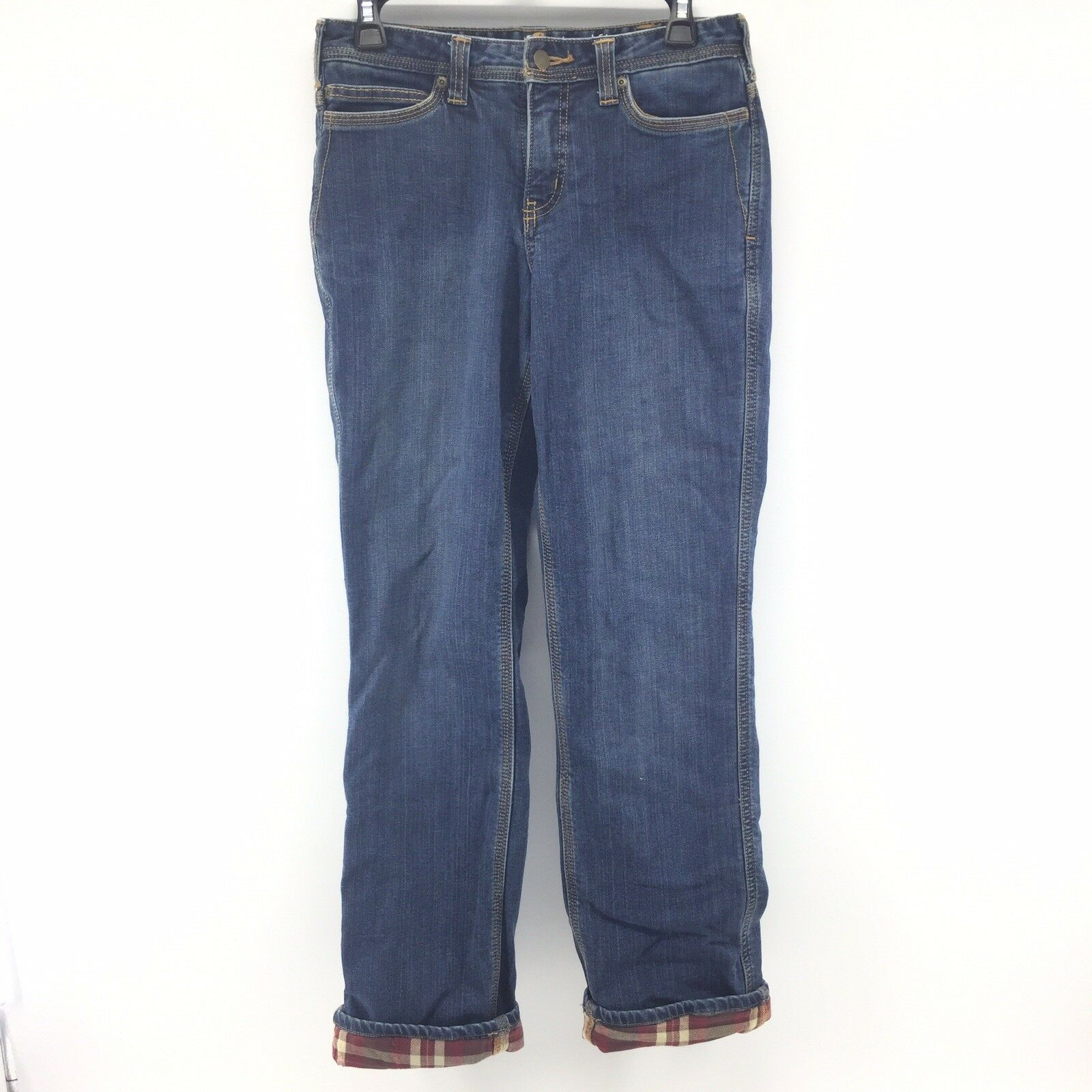 Carhartt Relaxed Fit Straight Leg Jeans Womens Size 4 Insulated Plaid Lined I5A