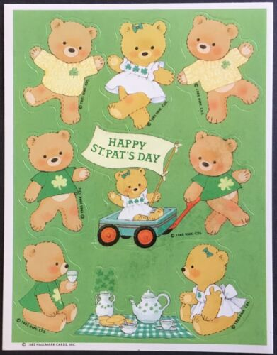 Dated 1985 Patrick's Day Hallmark Vintage Sheet of Stickers St