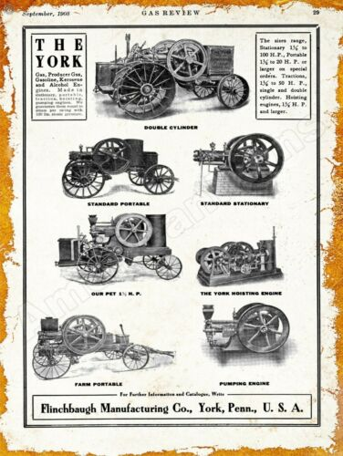York Tractors New Metal Sign Pennsylvania 1908 Flinchbaugh Gas Engines