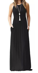 Small Womans GRECERELLE Most Wanted Black Racerback Pocket Maxi Dress