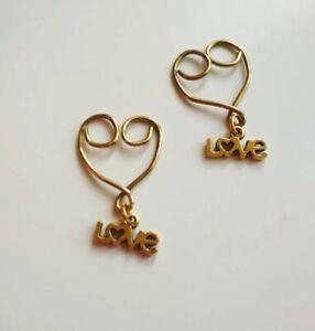 Non Pierced Nipple Jewellery clip on adjustable 2 pieces Heart shape Uk seller