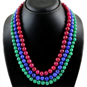 816-95-CTS-EARTH-MINED-3-LINE-RUBY-EMERALD-amp-SAPPHIRE-ROUND-BEADS-NECKLACE