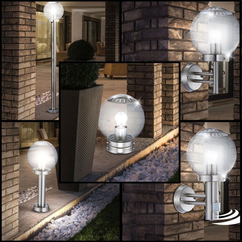 Boule verre lampe murale jardin lampadaire capteur extérieur en acier inoxydable