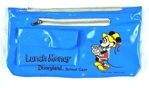 Disneyland-Minnie-Mouse-Vtg-School-Case-Vinyl-Zippered-Lunch-Money-Disney-WDP-HK
