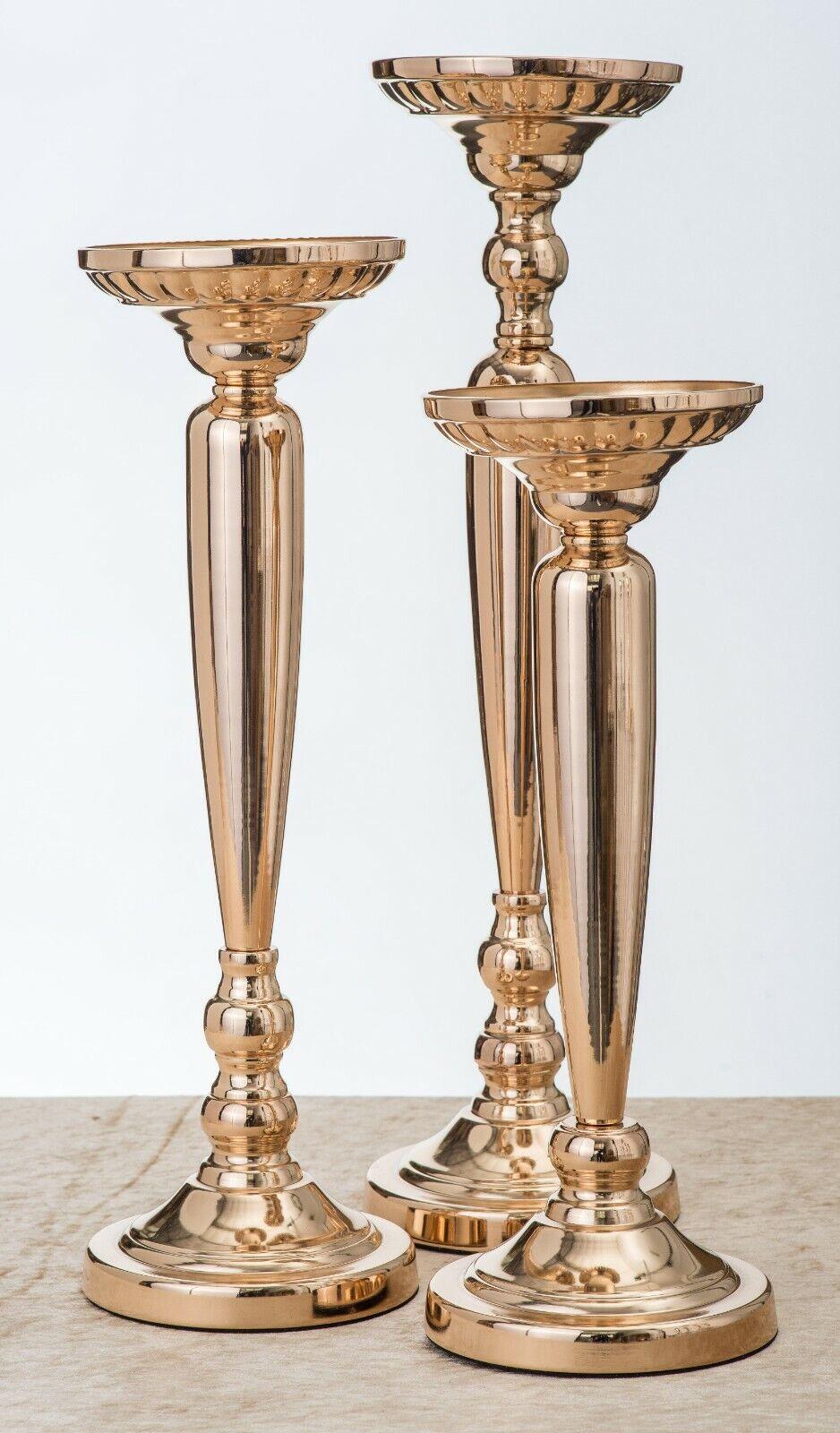 Métal Doré Fleur Supports Baton Table Piédestal 44cm, 50cm & 57cm