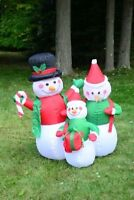4' Snowman Family Christmas Lighted Airblown Inflatable Santa Outdoor Decoration