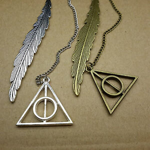 Antique-Bronze-Silver-Harry-Potter-Deathly-Hallows-Pendant-Feather-Bookmark-Gift