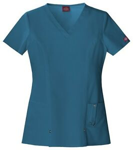 88467aa0f2a Image is loading Dickies-Scrubs-Xtreme-Stretch-Scrub-Top-82851-Caribbean-